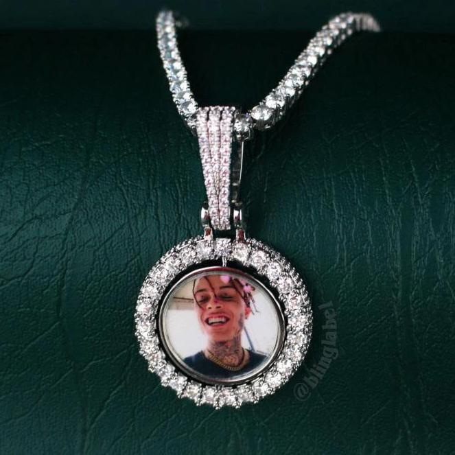 Iced Out Rotating Picture Pendant in White Gold