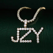 Tennis Custom Name Letter Necklace in Gold