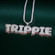 Custom Red Drip Bubble Letter Necklace