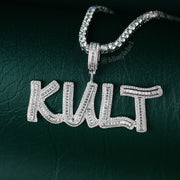 Iced Out Baguette Letter Pendant in White Gold