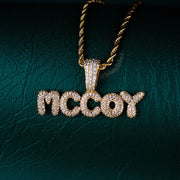 Custom Bubble Letter Pendant Necklace in Gold (0.5 inch)