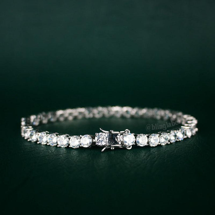 Tennis Chain + Tennis Bracelet Set in White Gold