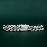 12mm Iced Out Cuban Link Bracelet in White Gold