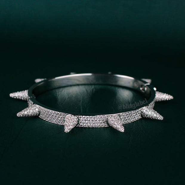 14K Iced Out Spike Bracelet in White Gold