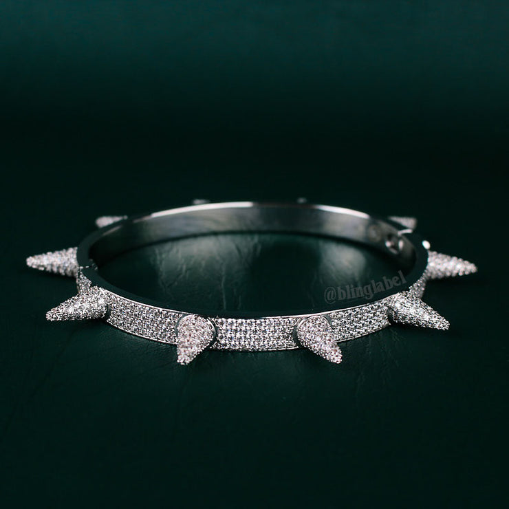 18K Iced Out Spike Bracelet in White Gold