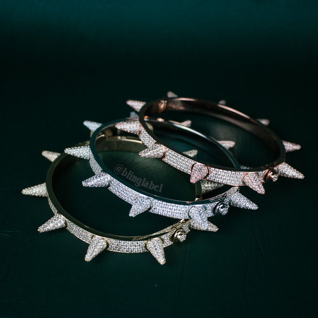 14K Iced Out Spike Bracelet in Rose Gold