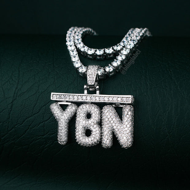 Custom Bar Bubble Letter Rapper Necklace