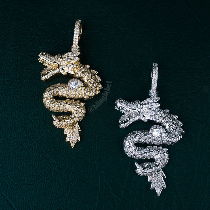 18K Iced Out Dragon Pendant Necklace Set in Gold