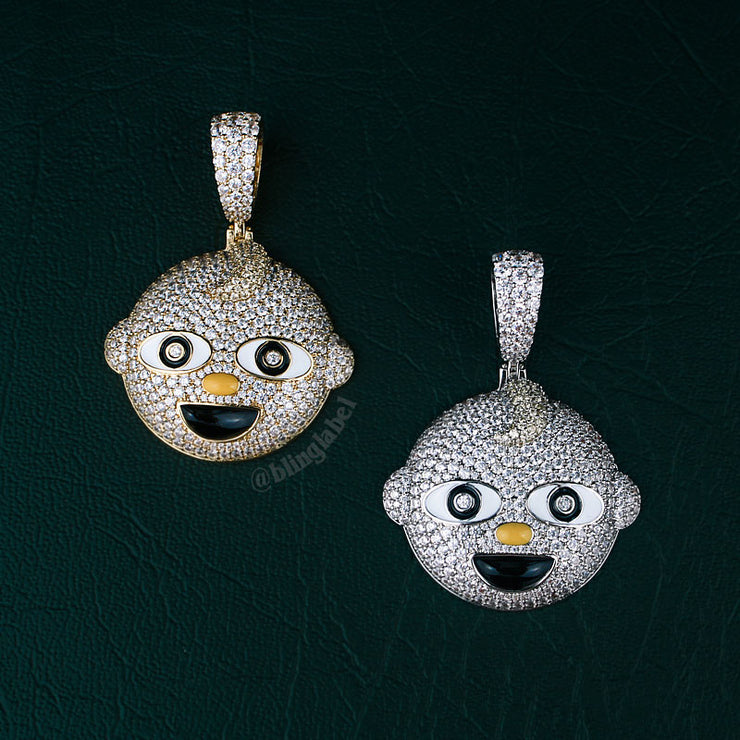 Iced Out Baby Pendant Necklace Set in White Gold