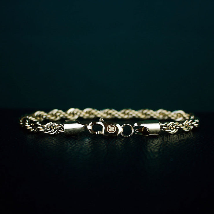 6mm Thick Rope Bracelet in Gold