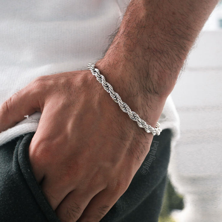 6mm Thick Rope Bracelet in White Gold