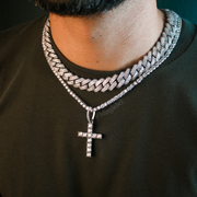 18K White Gold Premium Cross Pendant Necklace