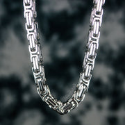 8mm Large Stainless Steel Byzantine Chain in White Gold