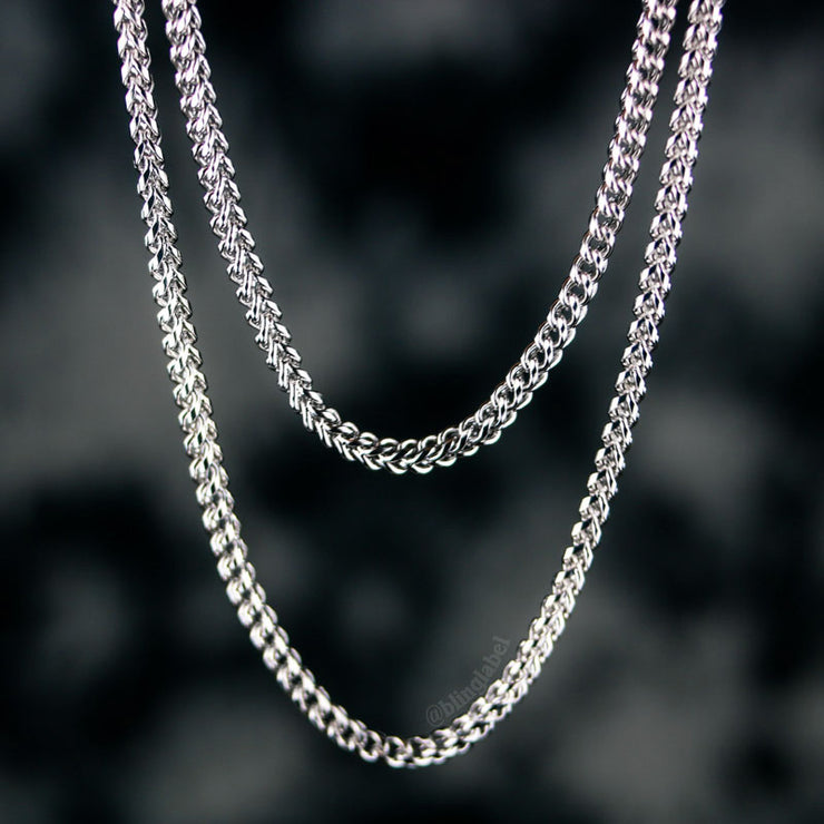 2.5mm Franco Box Chain in White Gold