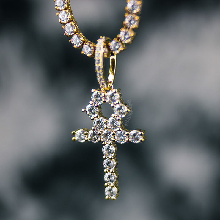 18K Gold Ankh Necklace Set