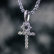 18K White Gold Ankh Necklace Set