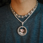 Iced Out Baguette Picture Pendant in White Gold