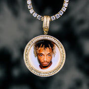 Iced Out Baguette Picture Pendant in Gold