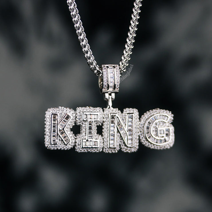 Baguette Block Custom Name Letter Rapper Chain in White Gold