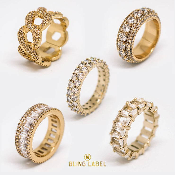 bling label 5 pcs ring set gold