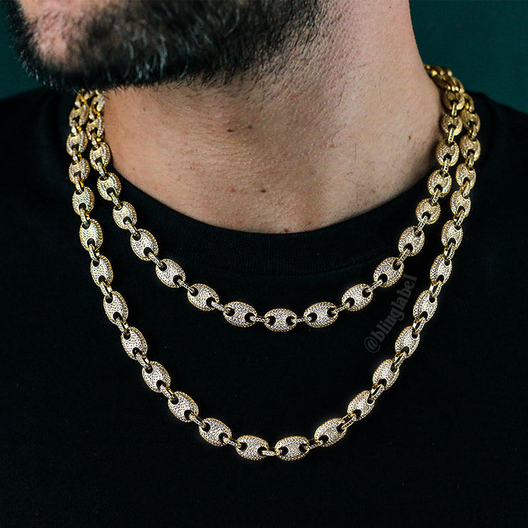 Iced Out Gucci Link Chain in Gold (10mm)