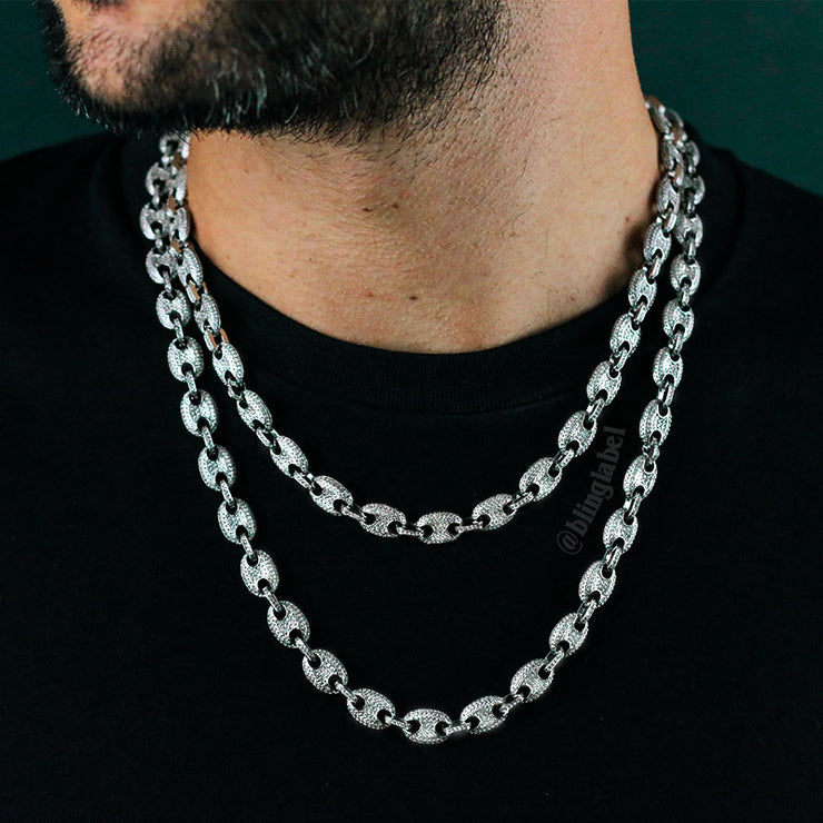 Iced Out Gucci Link Chain in White Gold (10mm)