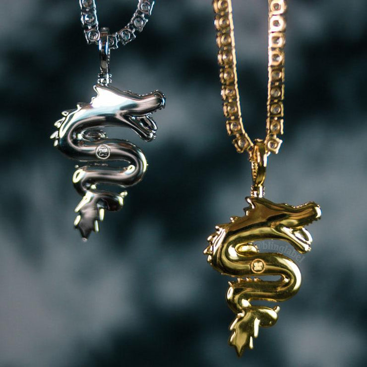 18K Iced Out Dragon Pendant Necklace Set in White Gold