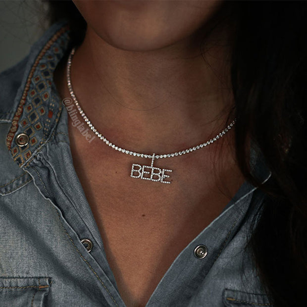 Iced Out Womens Custom Letter Name Necklace