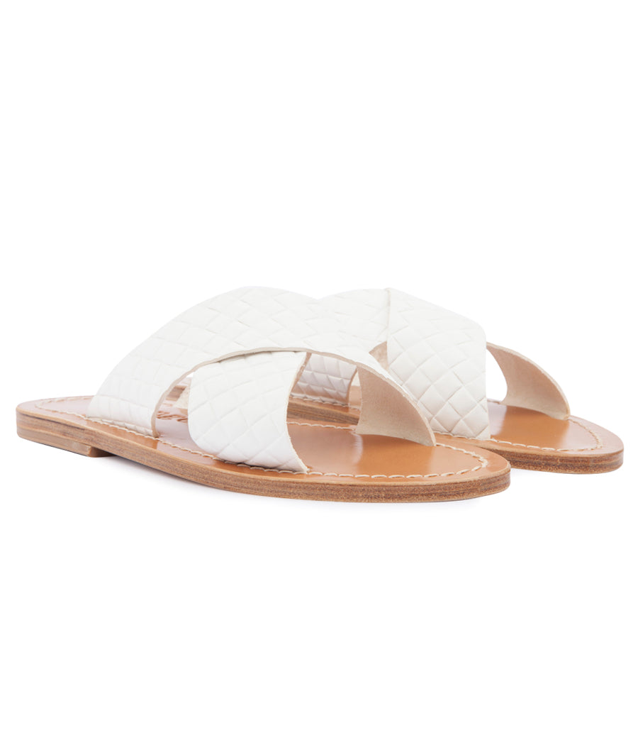 ARIS SANDALS IN TEXTURED LEATHER FT WIDE CRISSCROSS STRAPS