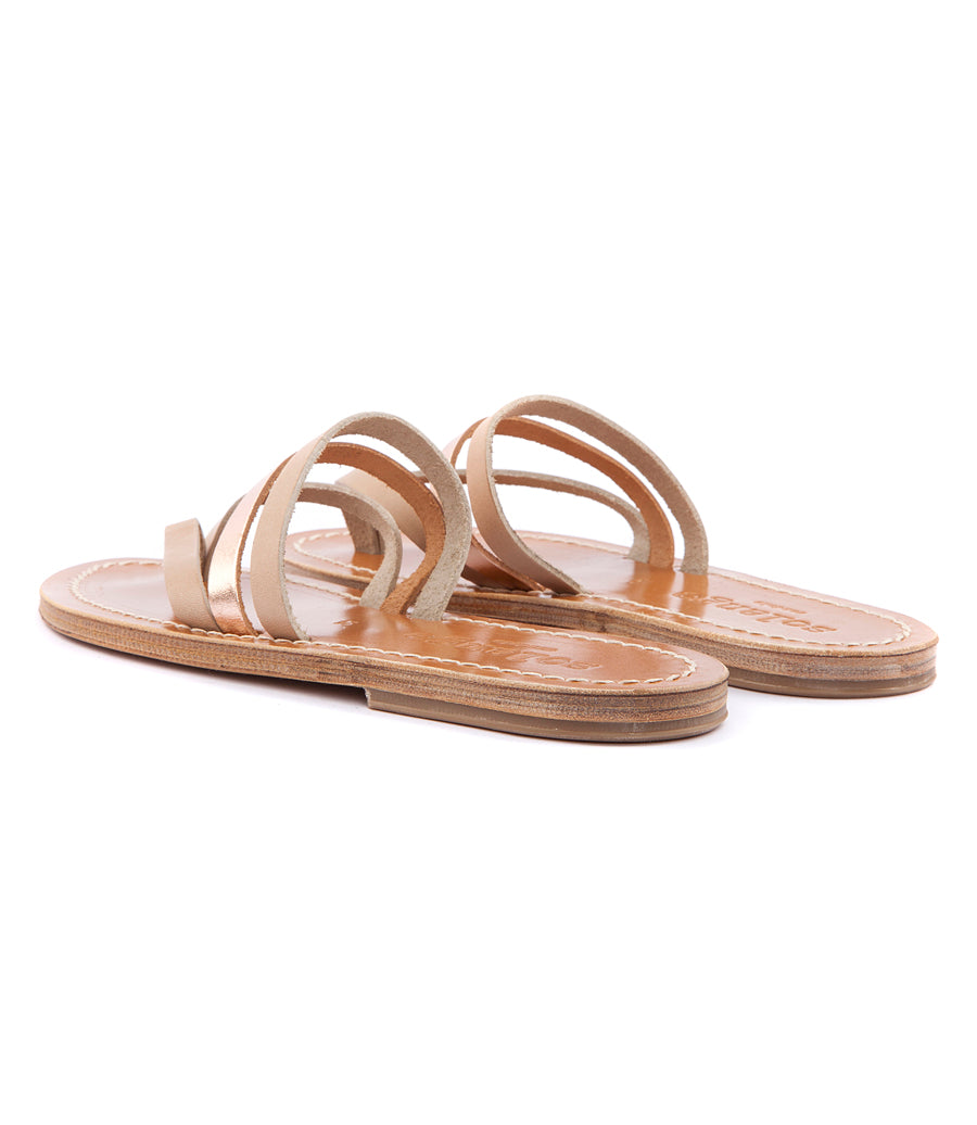 SKYROS FLAT SANDALS IN SOFT LEATHER