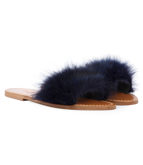 STRIPE FUR TRIMMED FLIP FLOP SANDALS