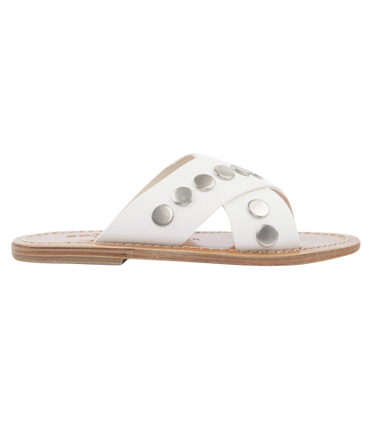 ARIS FUR CRISS CROSS FLAT SANDALS