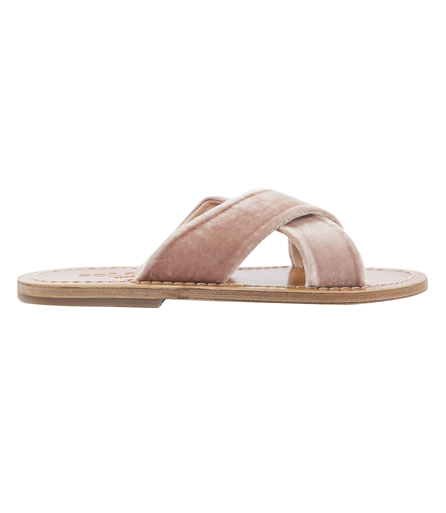 ARIS VELOUR SANDALS FT WIDE CRISSCROSS SUPPORT STRAPS