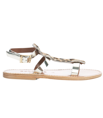 STRIPE SLIDE SANDALS IN TEXTURED LEATHER FT WAVY HEM
