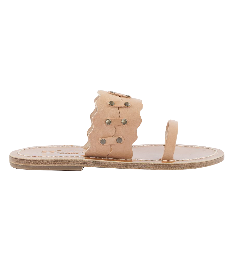 KYMA SCALLOPED FLAT SANDALS FT TRUCK DETAILING