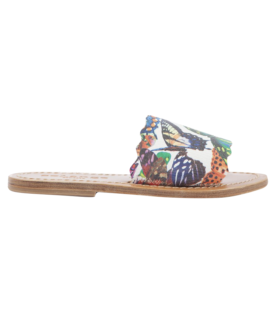 STRIPE BUTTERFLIES PRINTED SLIDE SANDALS FT WAVY HEM - UPON REQUEST