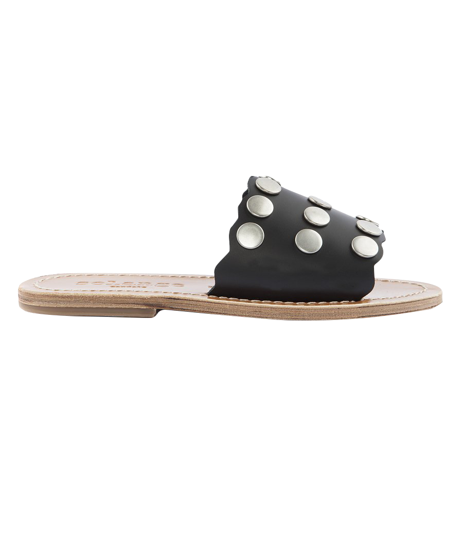 STRIPE STUDDED SLIDE SANDALS FT WAVY HEM