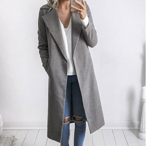 Open Oversize Long Woolen Trench Coat