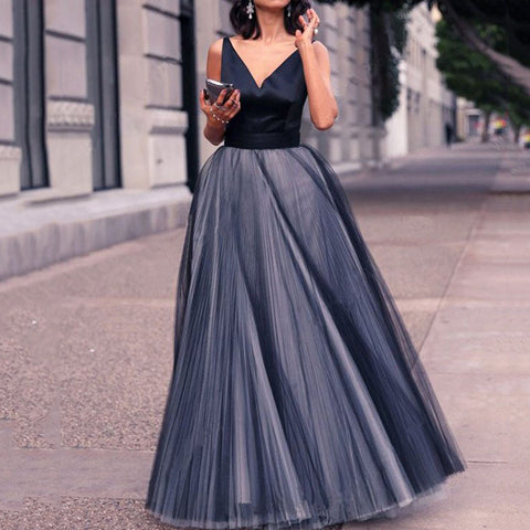 Vintage V-Neck High Waist Mesh Pleated Dress