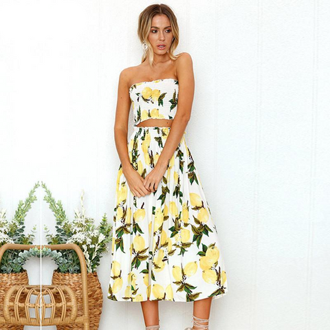 Strapless Two Piece Floral Dress