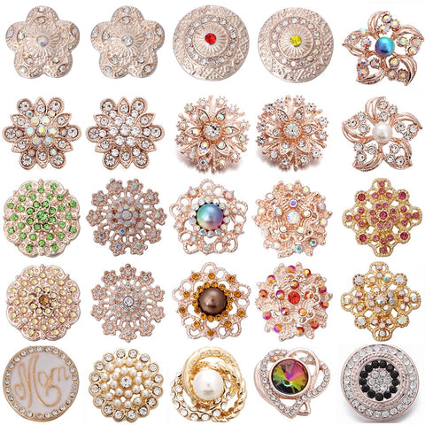 6pcs/lot New Snap Jewelry 18mm Snap Buttons Mixed Rose Gold Crystal Rhinestone Flowers Metal Snaps for Snap Button Bracelet