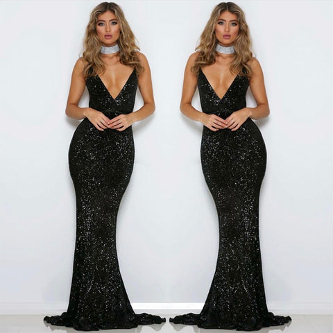 Black Sequined Backless Mermaid Bodycon Dress