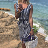 Striped Single-Breasted Midi Shirt Dress
