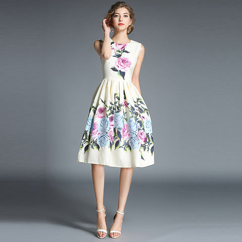 Sleeveless Floral Party Dresses