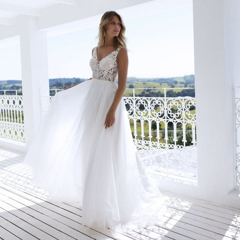Double V-Neck Sleeveless Bridal Dress
