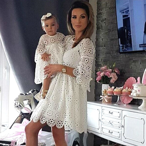 Mother and Daughter Long Sleeve Lace Matching Dresses