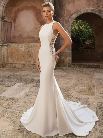 Elegant Satin Mermaid Wedding Dress