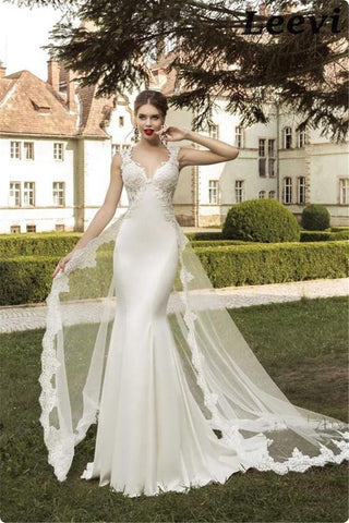 Backless Long Train Mermaid Bridal Dress