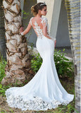 Long Sleeve Scoop Neck Bridal Gown
