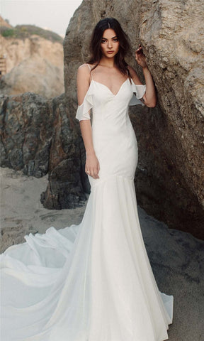 Backless Long Train Wedding Dress